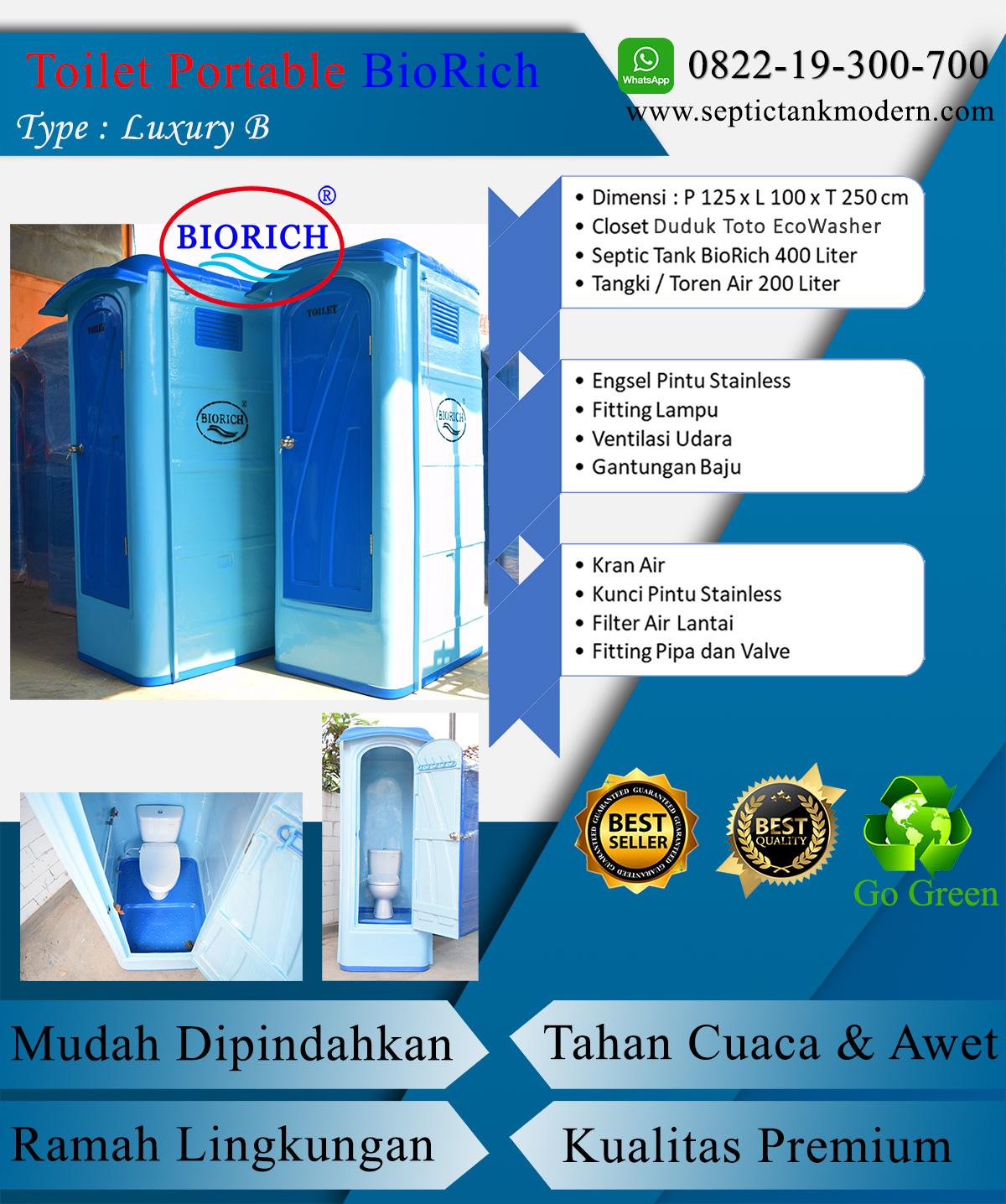 toilet portable tipe b standart wc portable produsen murah pabrik agen proyek jual murah terbaik fiber frp lux b Toilet Portable BioRich Tipe Luxury B